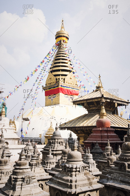 Patan and Kathmandu, Nepal - April 9, 2018: Stupas and temples