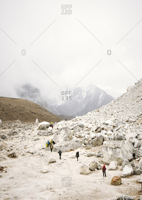 Hikers in the Himalayan Mountains