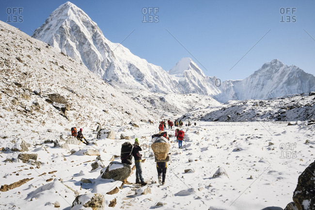 Khumbu Valley - April 17, 2018: Group of people hiking in the Himalayas