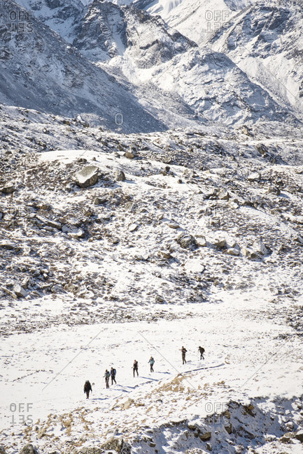 Group of hikers at Khumbu Glacier in Nepal