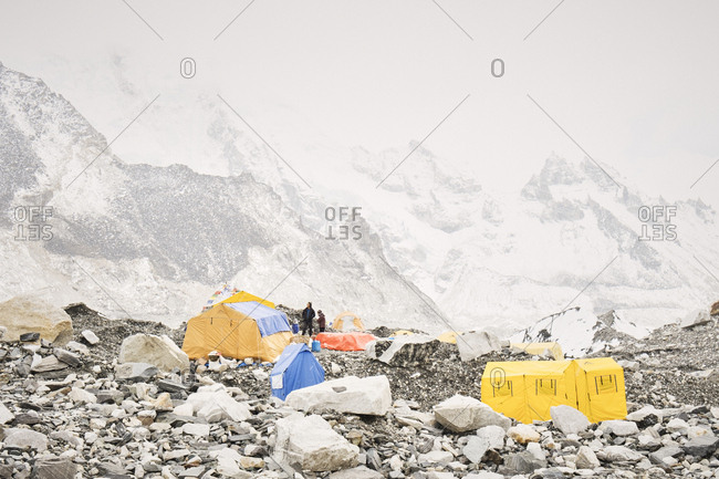 Khumbu Valley - April 18, 2018: People and tents at Everest Base camp