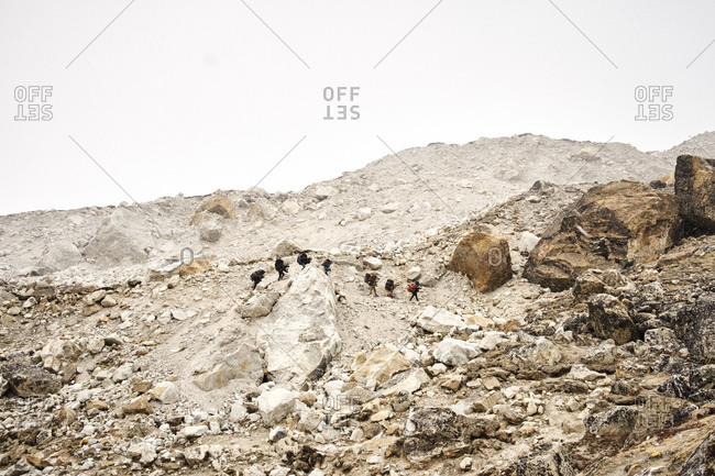 Group of people hiking in the Himalayas