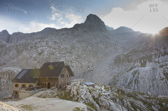 September 12, 2016: View of mountain hut in Triglav National Park, Slovenia