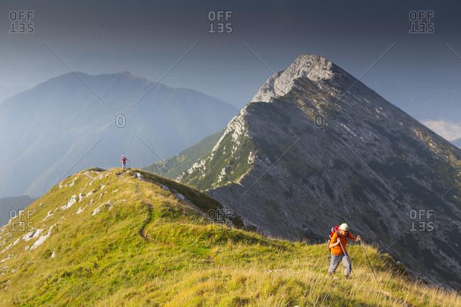 September 14, 2016: View of hikers at Mount Vogel, Triglav National Park, Slovenia
