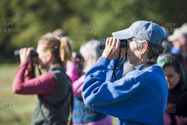 October 5, 2016: Senior man looking through binoculars while bird watching with Audubon Society, Johnston, Rhode Island, USA