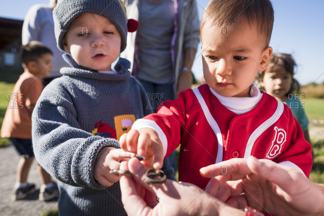 October 6, 2016: Young children learning about nature and the outdoors as part of an outdoor education program with Audubon Society, Bristol, Rhode Island, USA