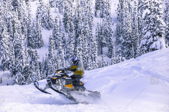 January 19, 2015: Side view of adventurous man jumping on snowmobile in Callaghan Valley, Whistler, British Columbia, Canada