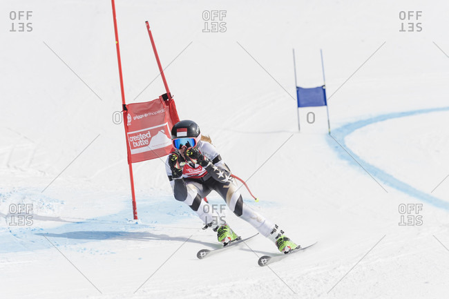 February 19, 2016: Front view of athlete downhill skiing, Crested Butte, Colorado, USA