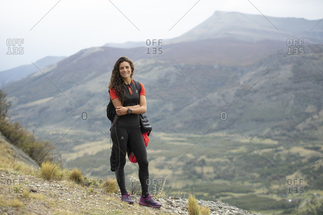 April 9, 2017: Runner Juan Dual poses for a portrait previous to participanting in Ultra Fiord mountain race in Puerto Natales, Chile.
