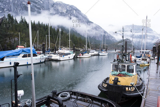March 8, 2018: View of harbor with sailboats and fishing boats of Squamish, British Columbia, Canada