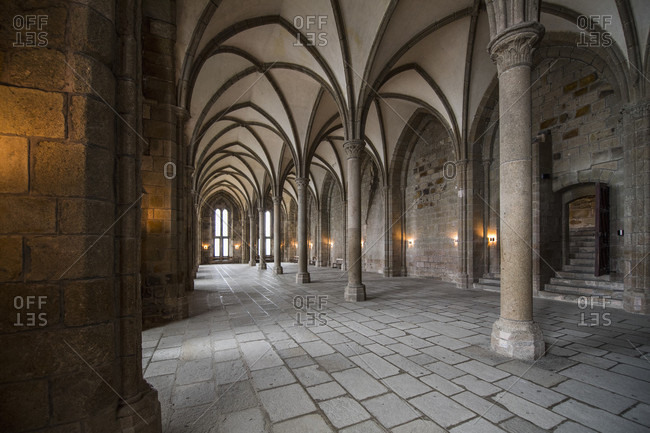 January 8, 2018: Interior of hallway with ribbed vaulting in monastery of Mont Saint-Michel, Normandy, France