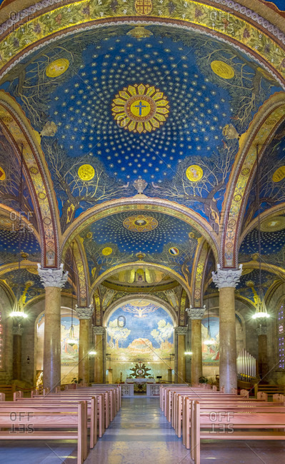 May 23, 2017: Interior of the Church of All Nations, also known as the Church or Basilica of the Agony, Jerusalem, Israel