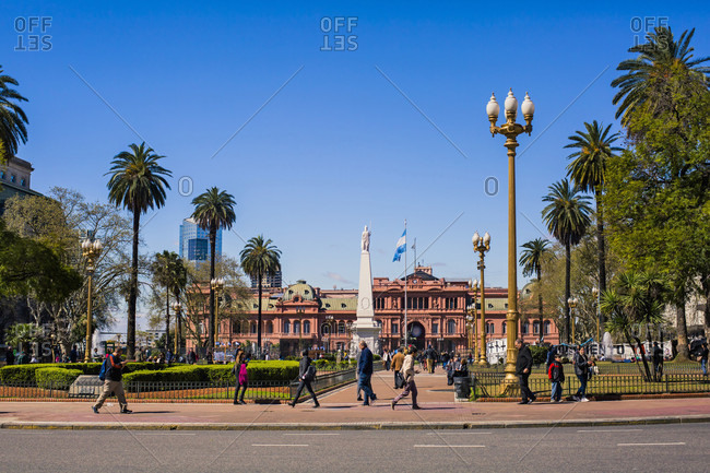 September 12, 2017: La Casa Rosada (English: The Pink House) is the executive mansion and office of the President of Argentina. The palatial mansion is known officially as Casa de Gobierno. The characteristic color of the Casa Rosada is baby pink, and is considered one of the most emblematic buildings in Buenos Aires. The building also houses a museum, which contains objects relating to former presidents of Argentina. It has been declared a National Historic Monument of Argentina.