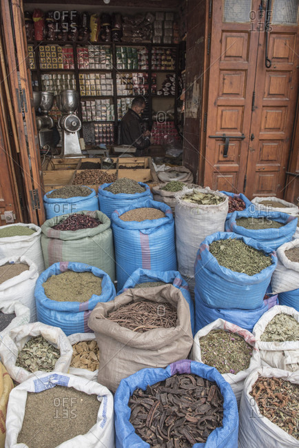 April 12, 2018: Lots of spices for sale in souks of medina of old city of Marrakesh, Morocco