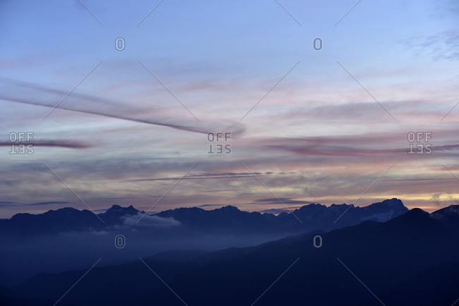 Zugspitze massif with Wetterstein Range in the evening light