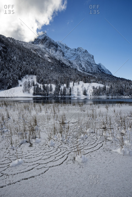 Winter impression at the Ferchensee over Mittenwald, with snow and ice in the reed. In the background Wetterstein Range. The blue of the heaven reflects the snow on the mountain.