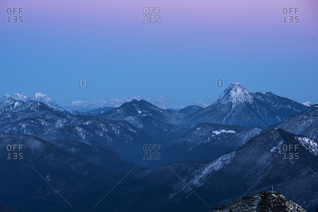 View from the Guffert and the Karwendel in the first light of the day.