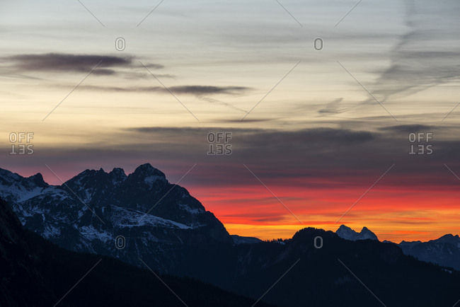 Sundown at the Zugspitze and Wetterstein Range recorded from above the Mittenwalder hut