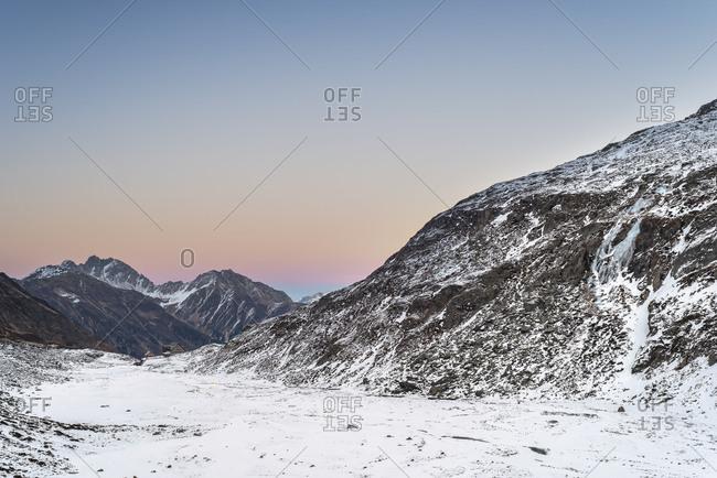 View to the Franz Senn H�tte (hut) in the Stubai Alps. Alpine winter mood at sundown.