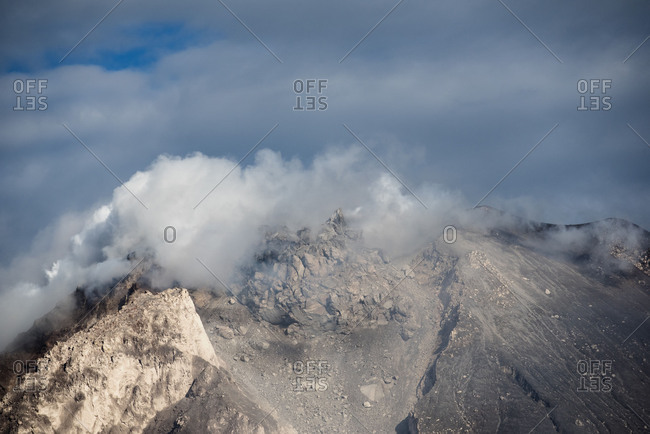 Summit of the active volcano Mount Sinabung in Sumatra, Indonesia