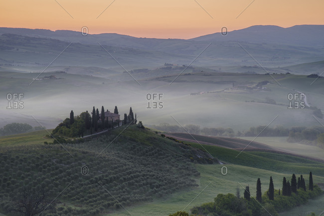 February 22, 2018: Europe, Italy, Tuscany, San Quirico d'Orcia, villa Podere Belvedere before sunrise