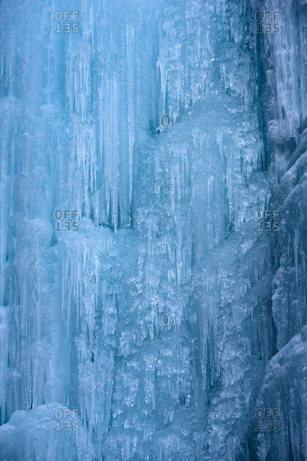 Blue ice in a waterfall in Hohe Tauern, Austria
