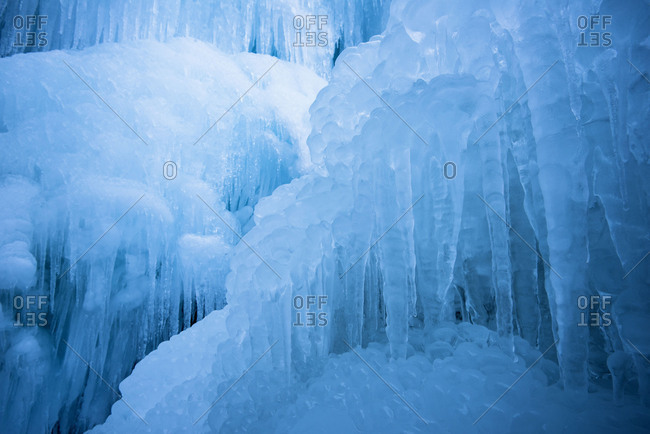 ice in a waterfall in Hohe Tauern, Austria