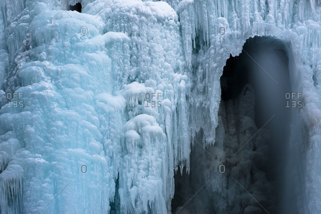 ice with water breakthrough in a waterfall in Hohe Tauern, Austria