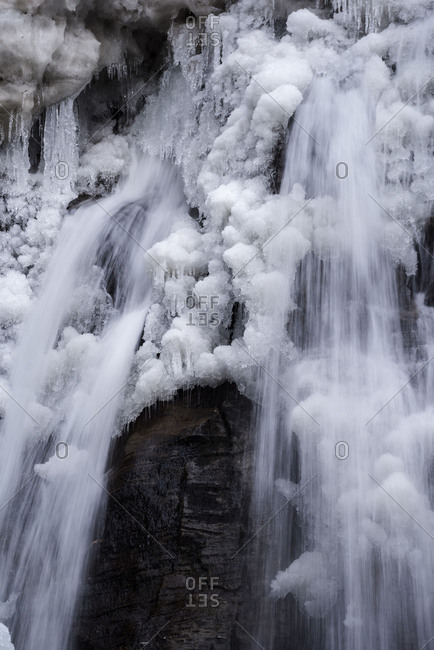 Water in a frozen waterfall.
