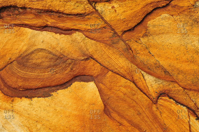 Sandstone with miraculous structures and forms in golden color on a beach in New Zealand.