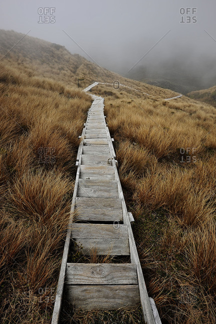 Stairs to the crater of the volcano Mount Taranaki or also as a Mount Egmont designates. In the valley rules thick fog. The wood narrow staircase is lined by a grass scenery.