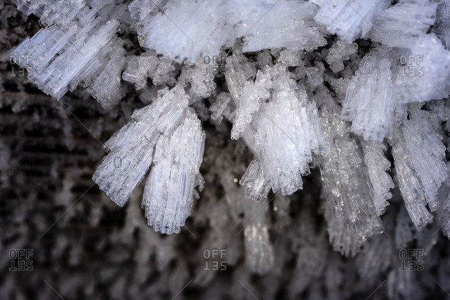 Ice-crystals on a wall