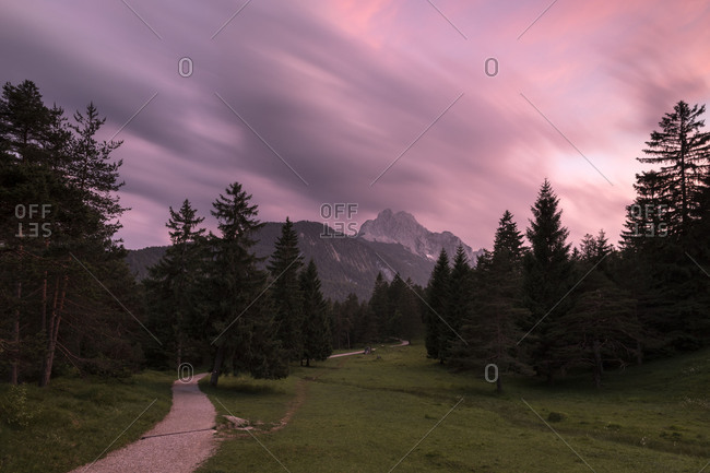Evening mood below the Wetterstein (mountain), a pink evening light dips the scenery in an unreal light. A path to the Lautersee (lake) winds through forest, in the background the Wetterstein (mountain)