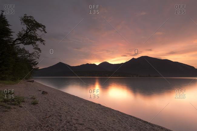 Shore of the Walchensee / Lake Walchen while dramatic sundown