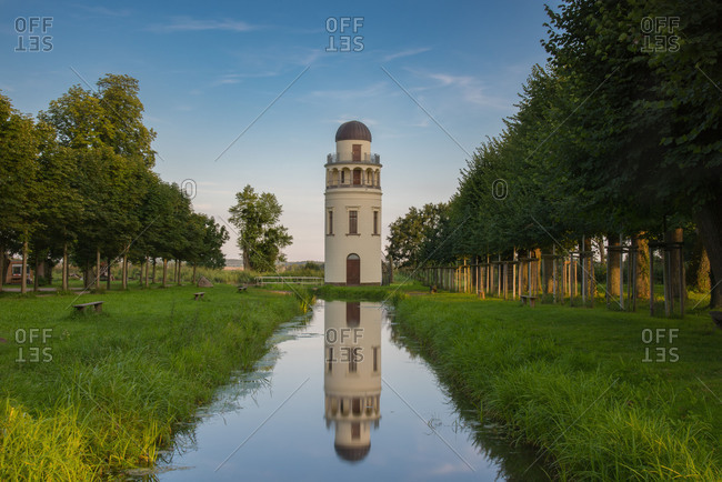 Europe, Germany, Mecklenburg Western Pomerania, Mecklenburg Lake District, Remplin, observatory in the evening light