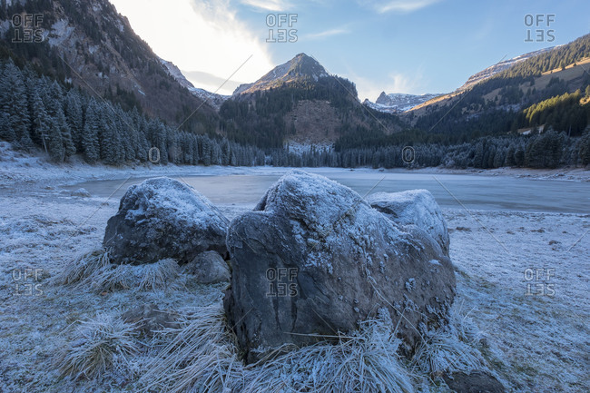 Winter on the Obersee, Europe, Switzerland, Wildhaus