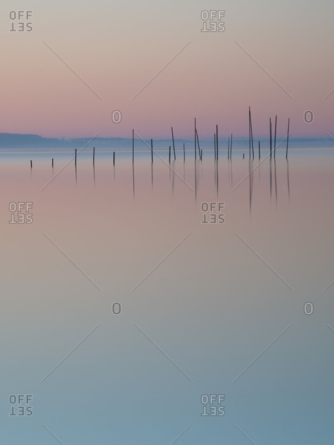 bow nets in the red sky, Muritz, Mecklenburg Lake District, Germany, Europe