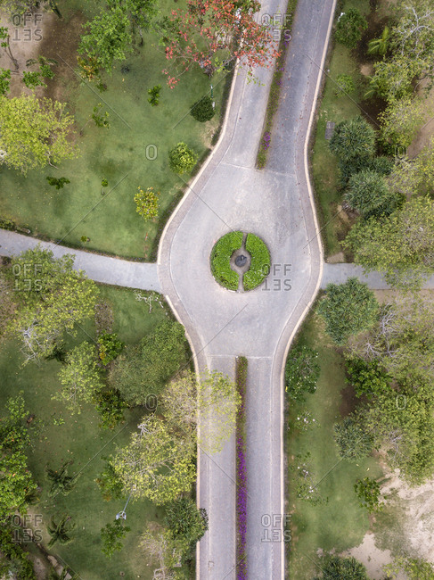 Indonesia- Bali- Aerial view of road and ways in a park
