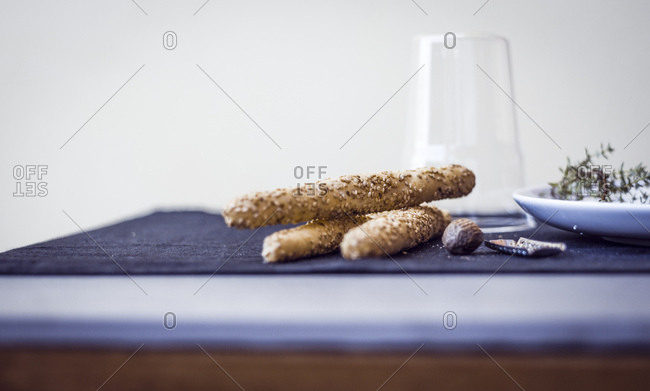 Bread sticks with sesame seeds