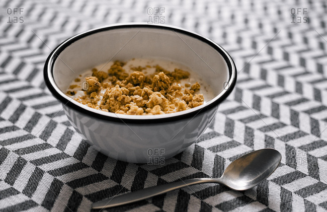 Bowl of crunchy muesli with natural yoghurt