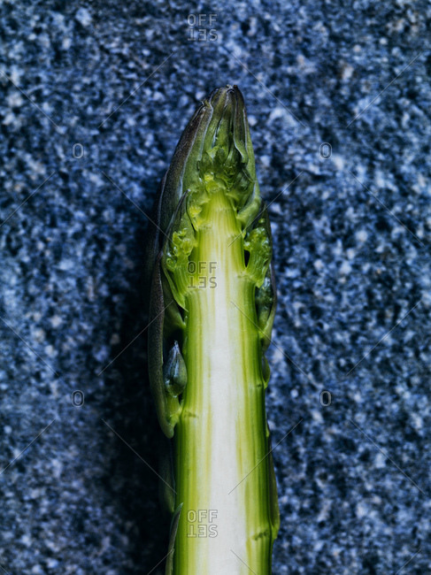 Sliced green asparagus tip