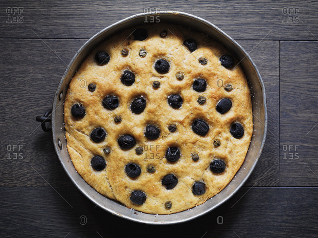 Home-baked Focaccia with black olives