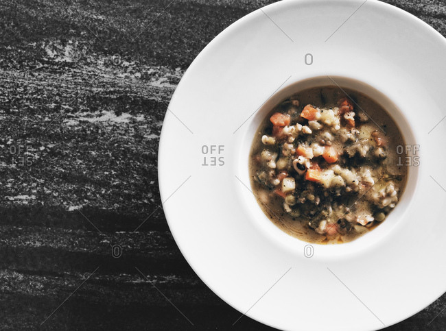 White dish with vegetable soup