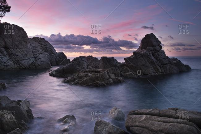 Spain- Catalonia- Lloret de Mar- Cala Trons at twilight