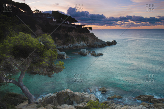 Spain- Catalonia- Lloret de Mar- Cala Trons at twilight