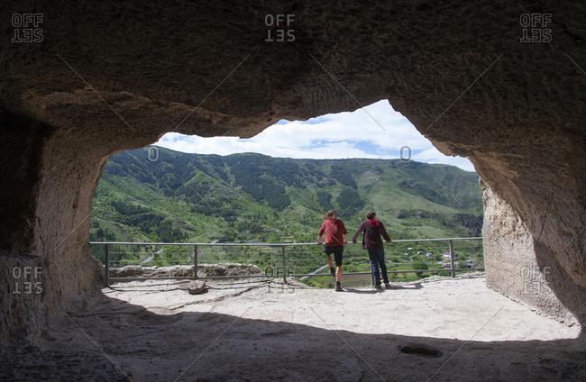 Georgia- Samtskhe-Javakheti- Tourists at cave city Vardzia