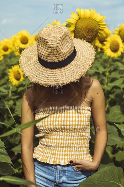 Unrecognizable woman with a straw hat in a field of sunflowers