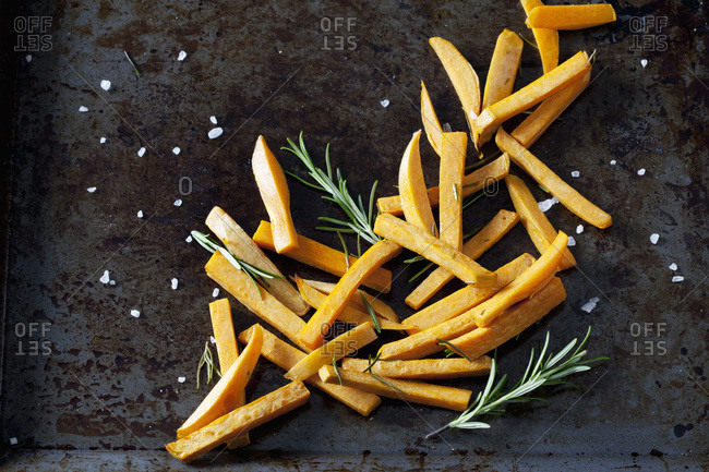 Preparing sweet potato fries