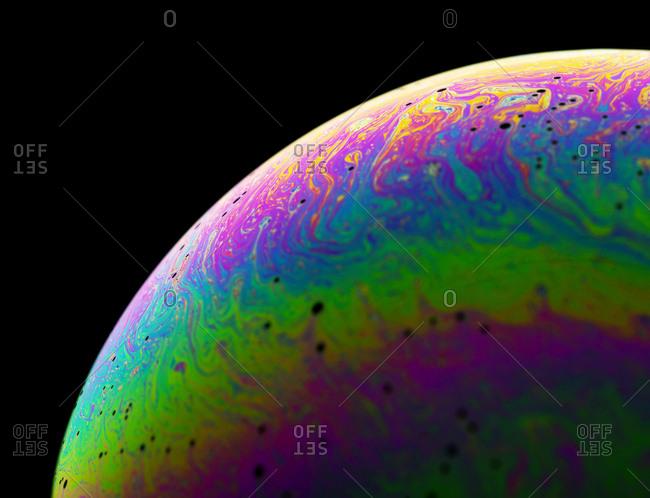 Surface of soap bubbles- close-up