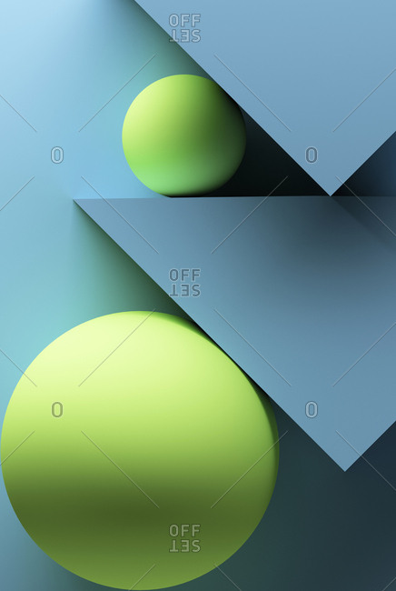 Turquoise background with geometric shapes